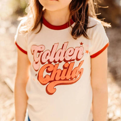 Tiny Whales Golden Child Ringer Tee KIDS - Baby - Unisex Baby Clothing Tiny Whales Teskeys