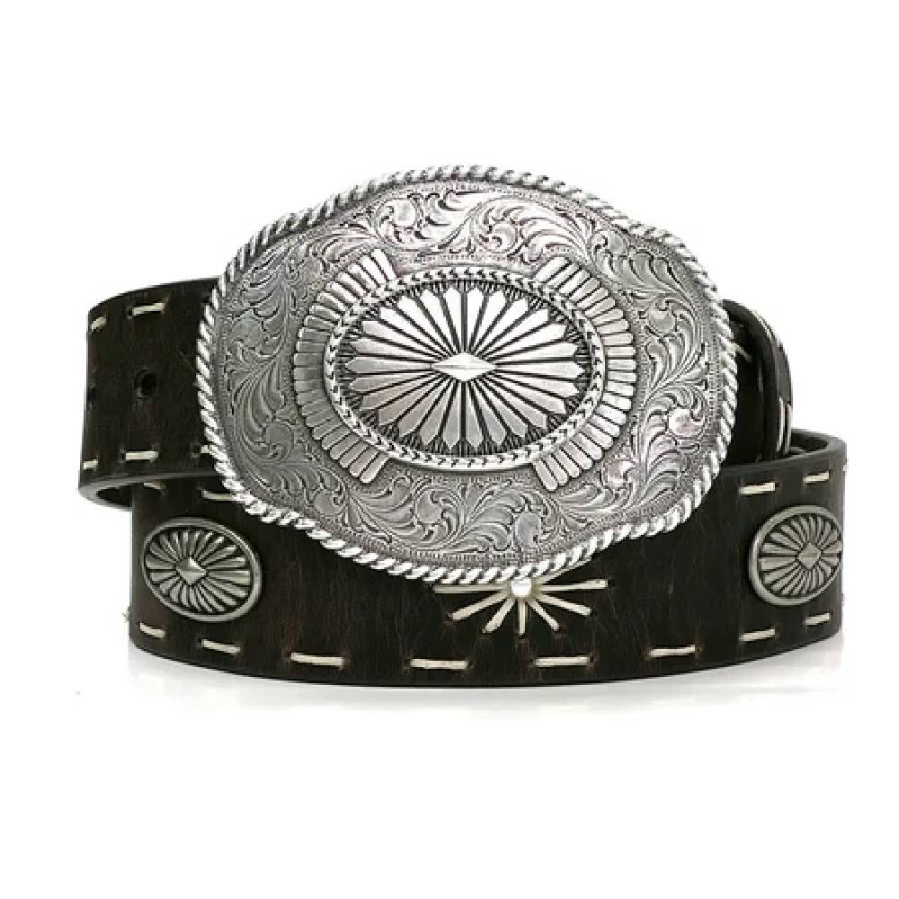 Angel Ranch Starburst Stitch Oval Buckle Belt WOMEN - Accessories - Belts M&F Western Products Teskeys