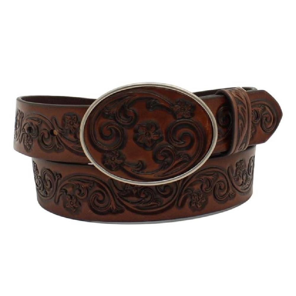 Ariat Flower Tooled Oval Leather Buckle Belt WOMEN - Accessories - Belts M&F Western Products Teskeys