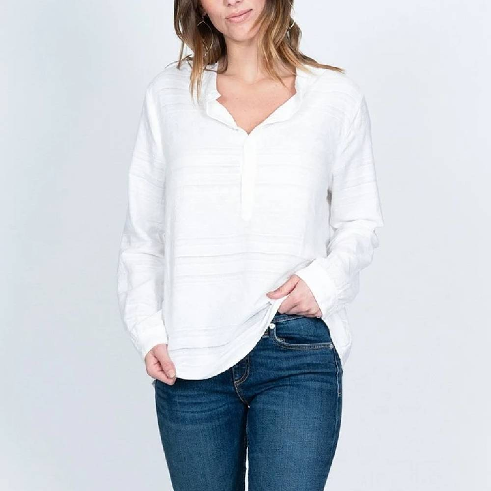 Dylan Laid Back Washed White Top WOMEN - Clothing - Tops - Long Sleeved DYLAN Teskeys
