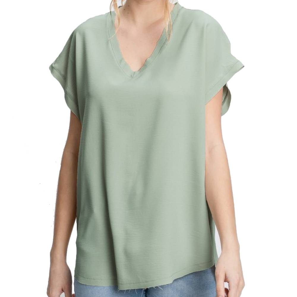 Sage V-Neck Raw Edge Top WOMEN - Clothing - Tops - Sleeveless Jodifl Teskeys
