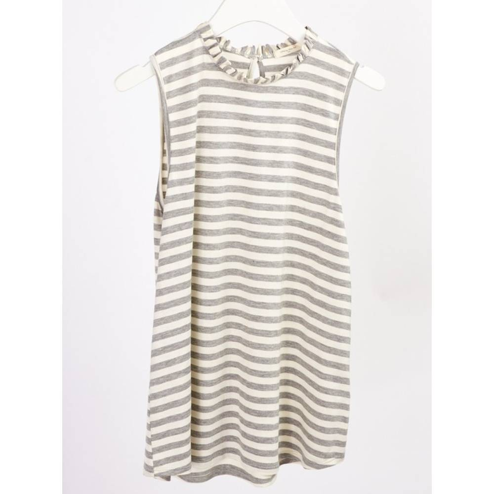 Girl's Ruffle Neck Stripe Top KIDS - Girls - Clothing - Tops - Sleeveless Tops 12PM By Mon Ami Teskeys