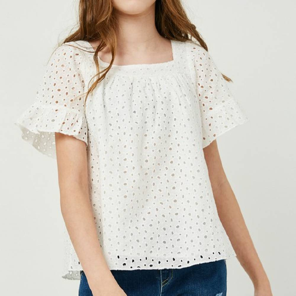 Girl's Floral Eyelet Peasant Top KIDS - Girls - Clothing - Tops - Short Sleeve Tops HAYDEN LOS ANGELES Teskeys