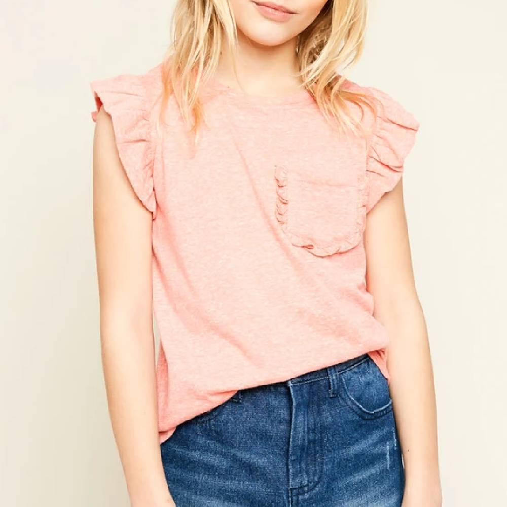 Girl's Ruffle Sleeve Top KIDS - Boys - Clothing - Shirts - Short Sleeve Shirts HAYDEN LOS ANGELES Teskeys