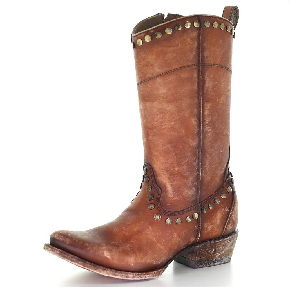 Corral Distressed Honey & Studs Boot