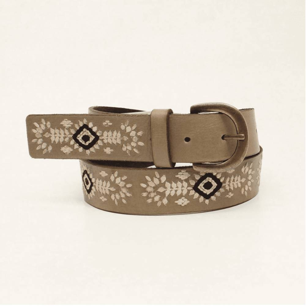 Nocona Embroidered Floral Diamond Belt WOMEN - Accessories - Belts M&F Western Products Teskeys