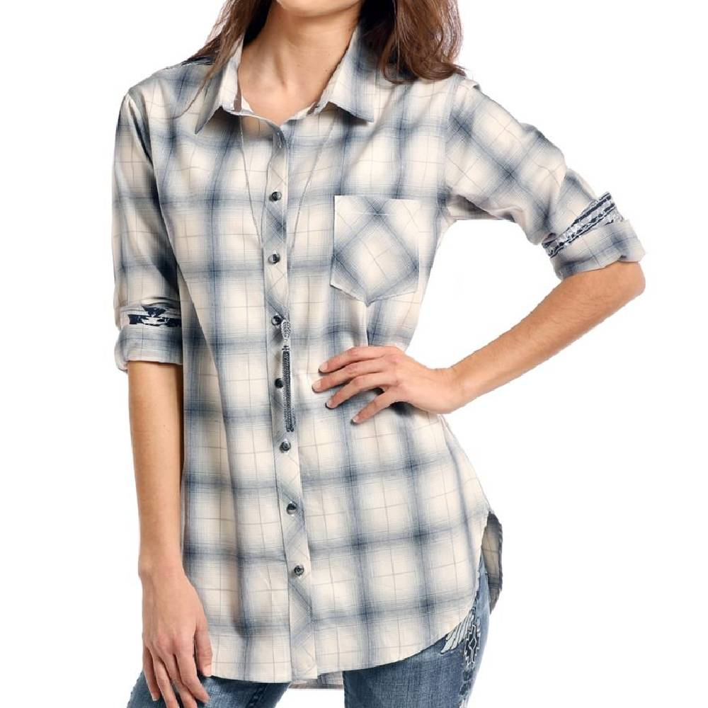 Panhandle Plaid Button Up Tunic WOMEN - Clothing - Tops - Long Sleeved Panhandle Teskeys