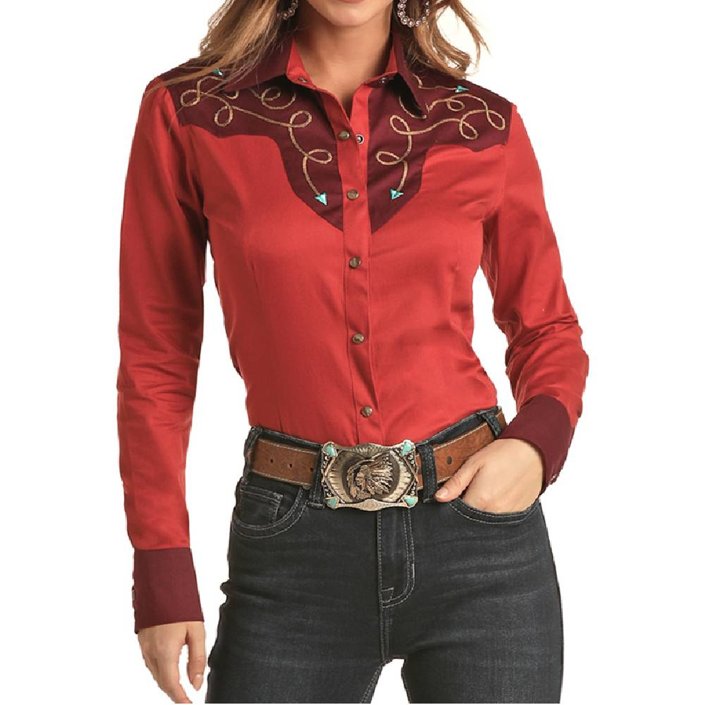 Rock & Roll Cowgirl Western Snap Shirt WOMEN - Clothing - Tops - Long Sleeved Panhandle Teskeys