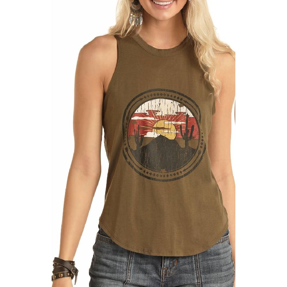 Rock & Roll Cowgirl Mountain Desert Graphic Tank