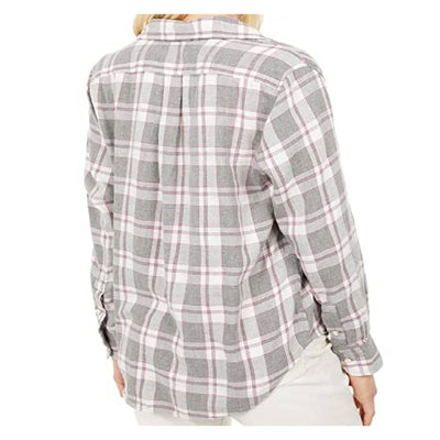 Lucky Brand Grey & Pink Plaid Long Sleeve Top WOMEN - Clothing - Tops - Long Sleeved LUCKY BRAND JEANS Teskeys
