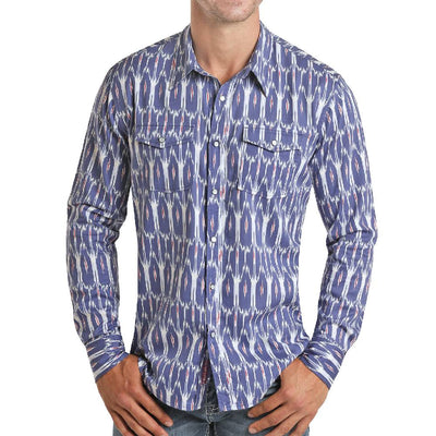 Rock & Roll Cowboy Western Print Snap Shirt MEN - Clothing - Shirts - Long Sleeve Shirts Panhandle Teskeys