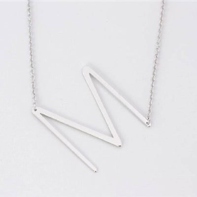 Silver Medium Sideways Initial Necklace WOMEN - Accessories - Jewelry - Necklaces Cool and Interesting Teskeys