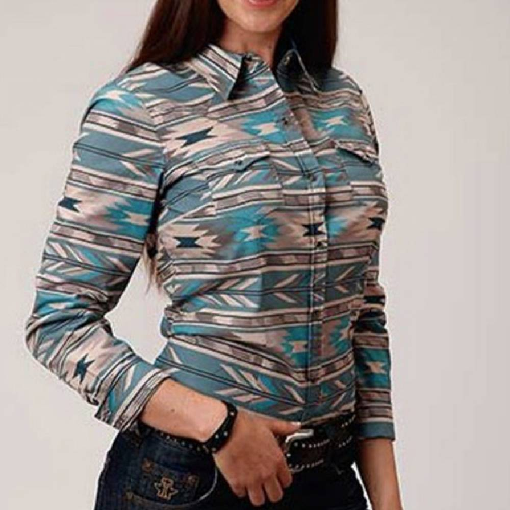 Roper Horizon Aztec Print Snap Shirt WOMEN - Clothing - Tops - Long Sleeved ROPER APPAREL & FOOTWEAR Teskeys