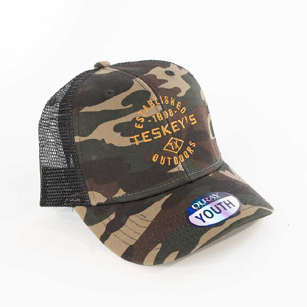 Teskey's 1998 Print Youth Camo/Black Cap KIDS - Accessories - Hats & Caps OURAY SPORTSWEAR Teskeys
