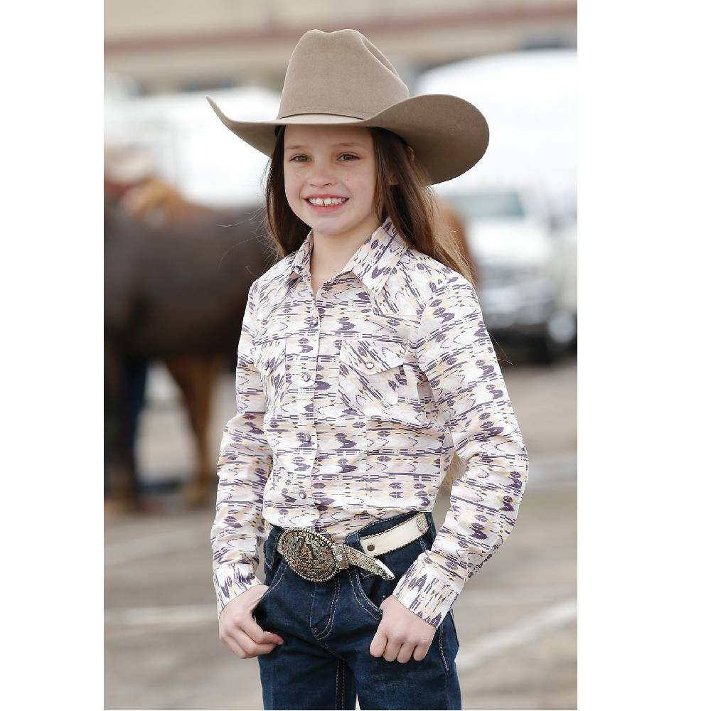 Girls Pink, Lavender and Peach Print Snap Western Shirt