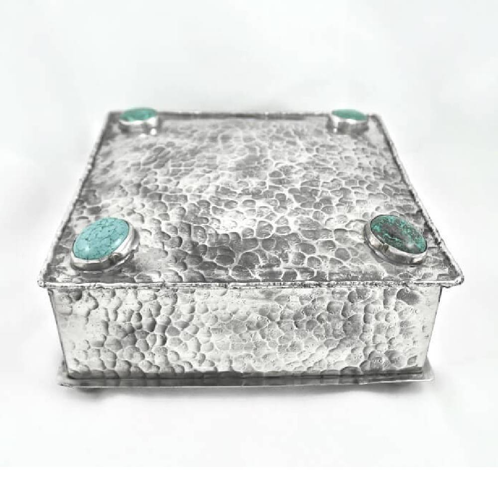 J. Alexander Square Box W/ 4 Turquoise Stones HOME & GIFTS - Home Decor - Decorative Accents J. ALEXANDER RUSTIC SILVER Teskeys