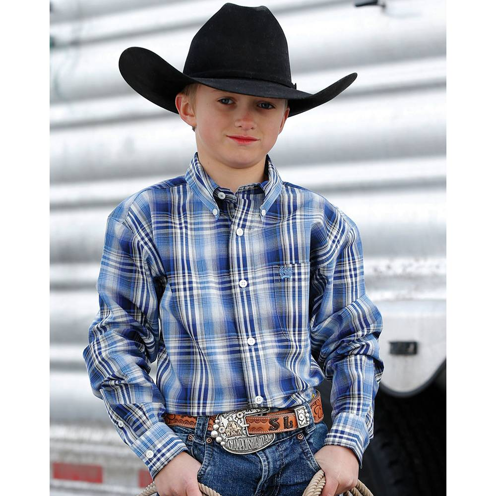 Cinch Boys Plaid Button Up Shirt KIDS - Boys - Clothing - Shirts - Long Sleeve Shirts CINCH Teskeys