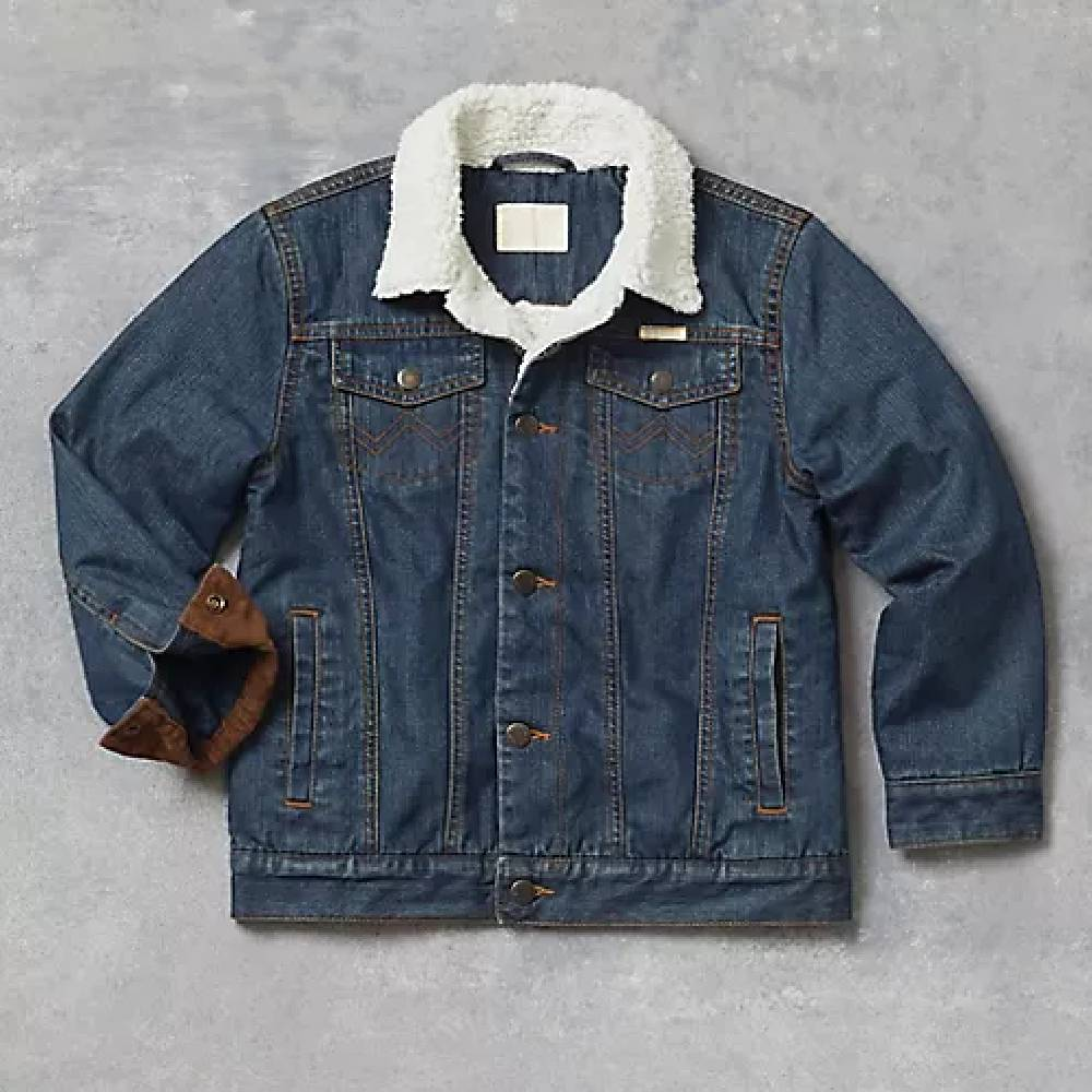 BOY'S WESTERN STYLED SHERPA LINED DENIM JACKET KIDS - Boys - Clothing - Outerwear - Jackets WRANGLER Teskeys