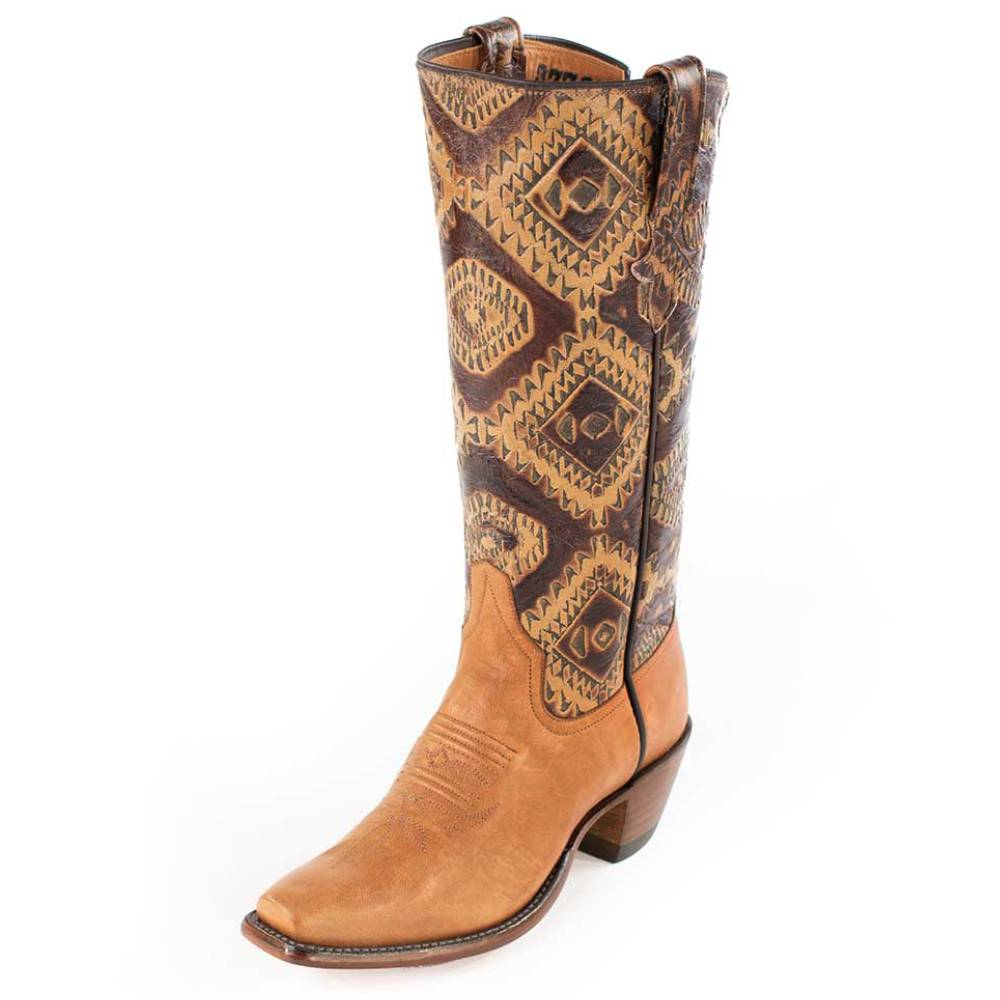 Toast Remuda Calf with Aztec Design Ladies Boot