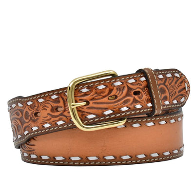 Floral Embossed Buckstitch Belt