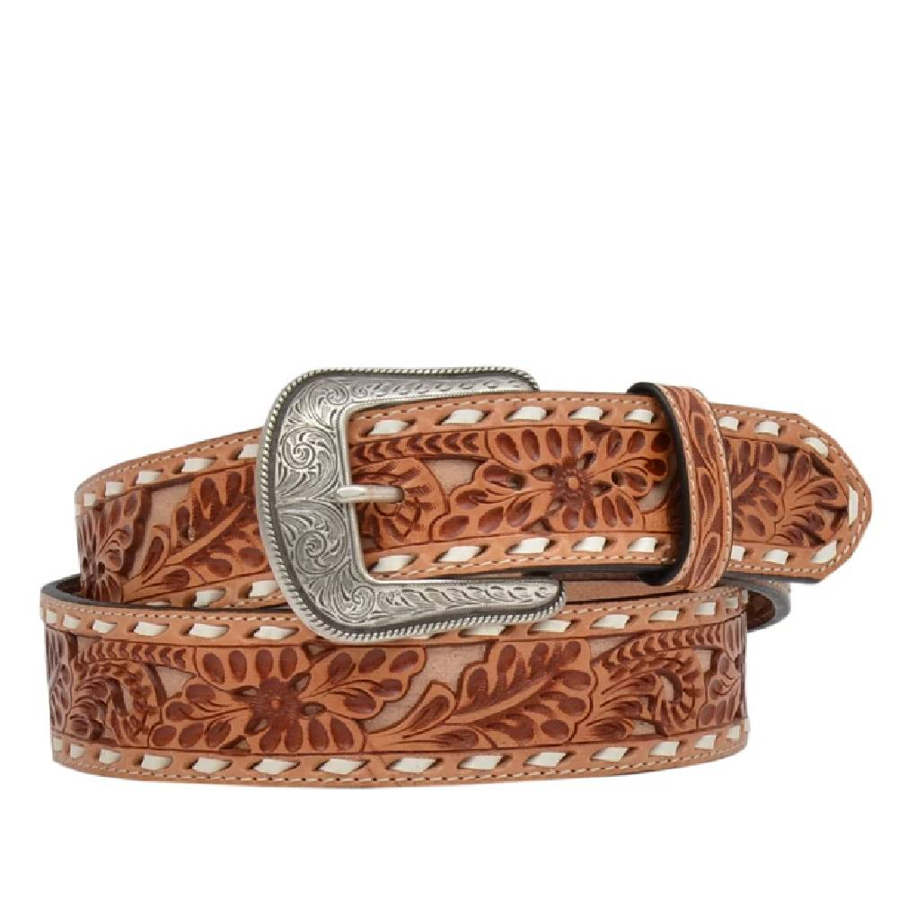 Floral Leather Buckstitch Belt MEN - Accessories - Belts & Suspenders M&F WESTERN PRODUCTS Teskeys