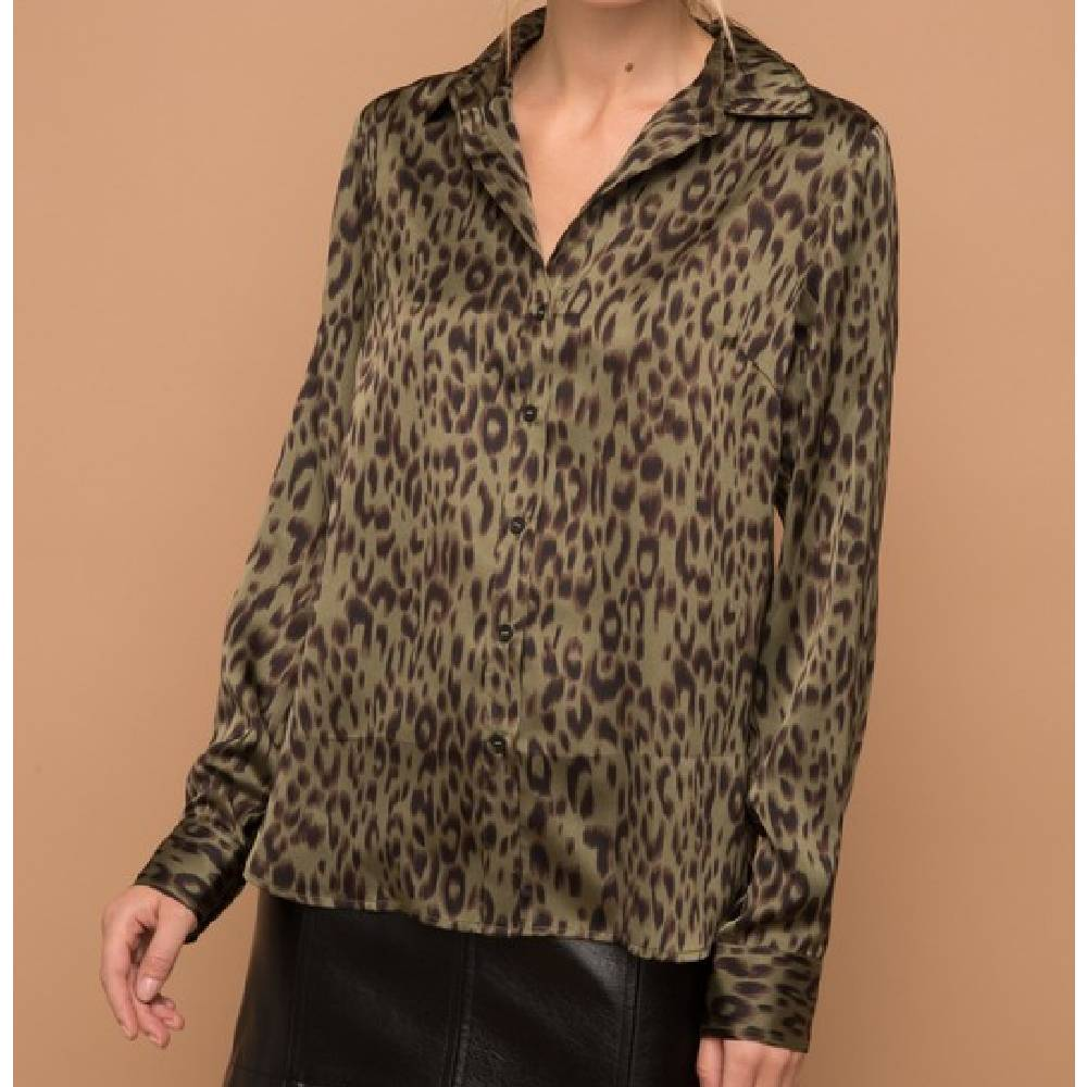 Satin Leopard Print Top