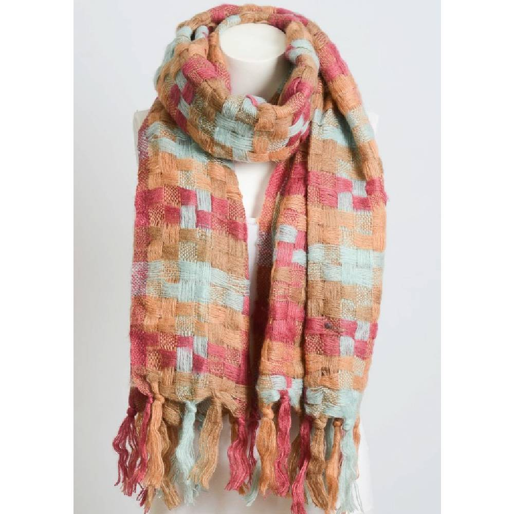 Patchwork Woven Tassel Scarf - 2 Color Options WOMEN - Accessories - Scarves & Wraps LETO Teskeys