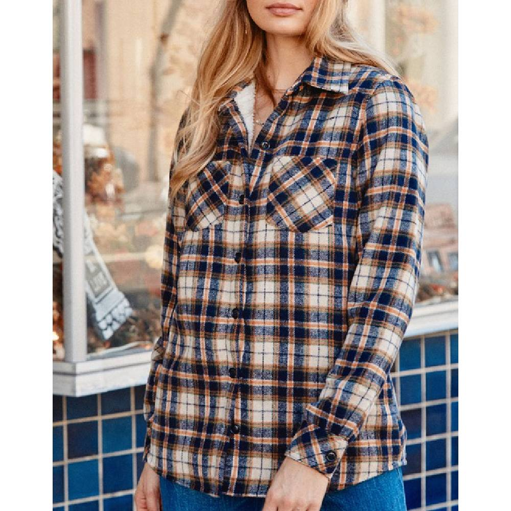 Shearling-Lined Plaid Flannel Shirt Jacket