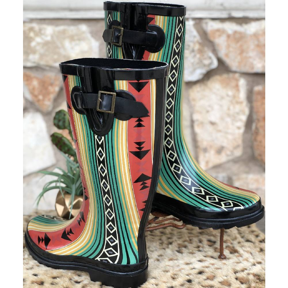 L & B Rain Boots-Multiple Prints (Leopard, Cactus, Aztec) WOMEN - Footwear - Boots - Work Boots LUCKY & BLESSED Teskeys