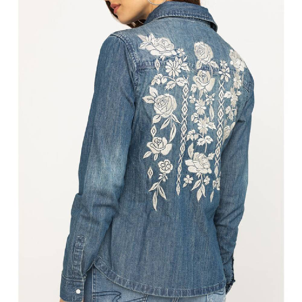 Stetson Denim Floral Embroidered Blouse