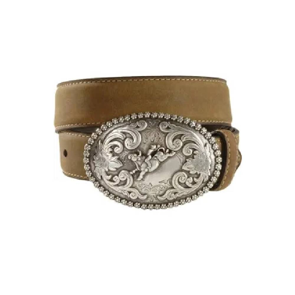 Nocona Distressed Belt with Bull Rider Buckle KIDS - Accessories - Belts Teskeys Teskeys