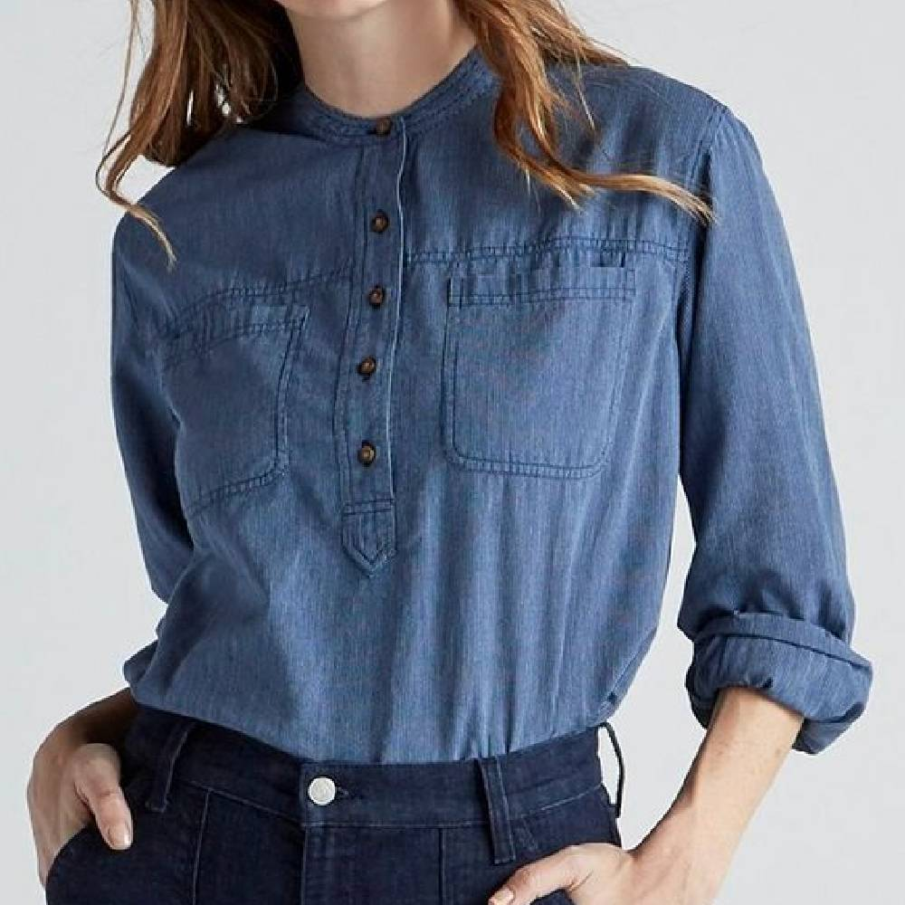 Lucky Brand Edie Stripe Popover Top WOMEN - Clothing - Tops - Long Sleeved LUCKY BRAND JEANS Teskeys