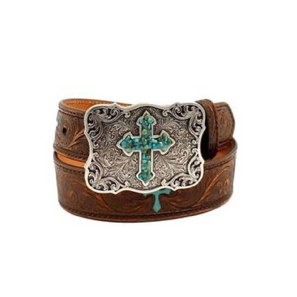 Nocona Turquoise Cross Belt KIDS - Accessories - Belts M&F WESTERN PRODUCTS Teskeys