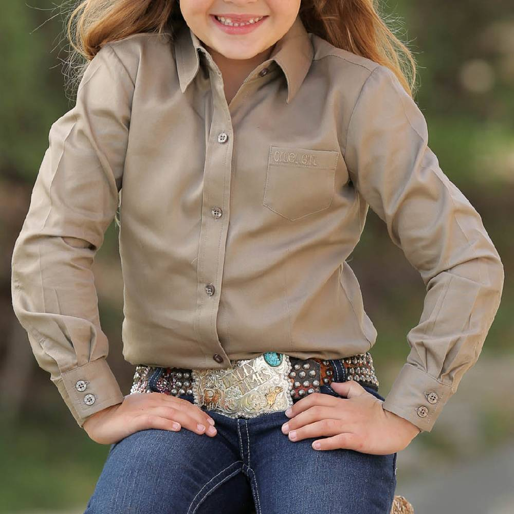 Cruel Girl Solid Khaki Button Up Shirt KIDS - Girls - Clothing - Tops - Long Sleeve Tops CINCH Teskeys