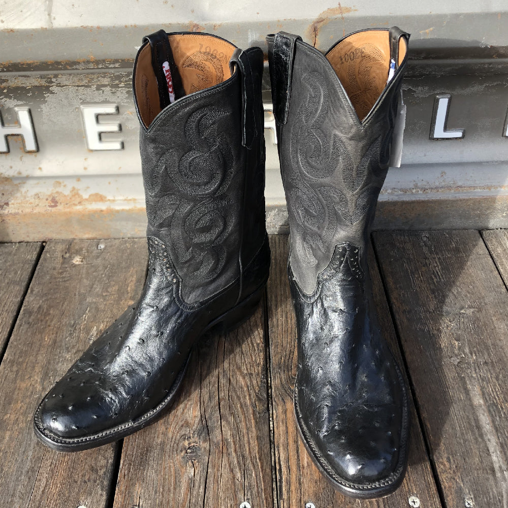 Rios of Mercedes Black Full Quill Ostrich 10EE MEN - Footwear - Exotic Western Boots RIOS OF MERCEDES BOOT CO. Teskeys