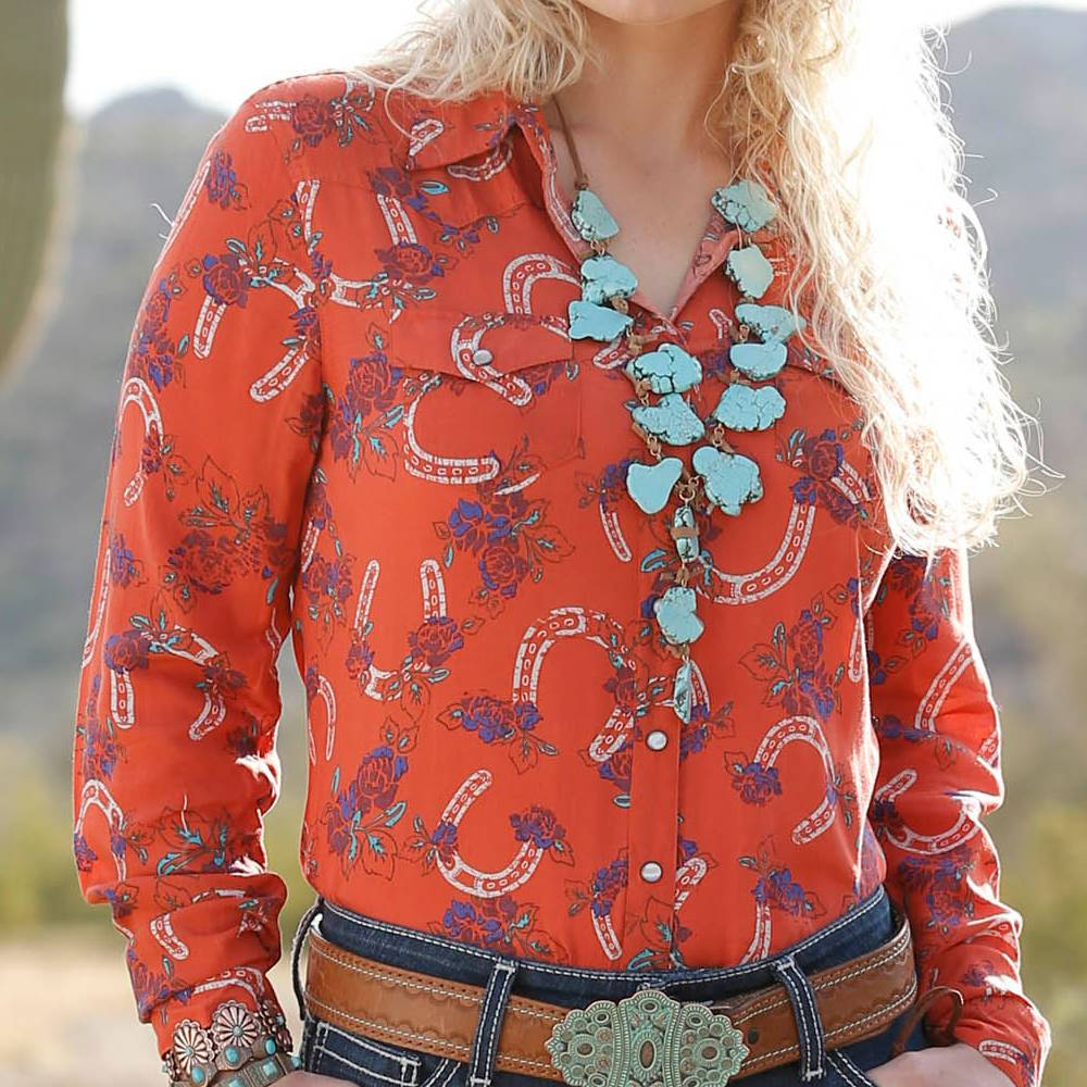 Cinch Western Print Snap Up Shirt WOMEN - Clothing - Tops - Long Sleeved CINCH Teskeys