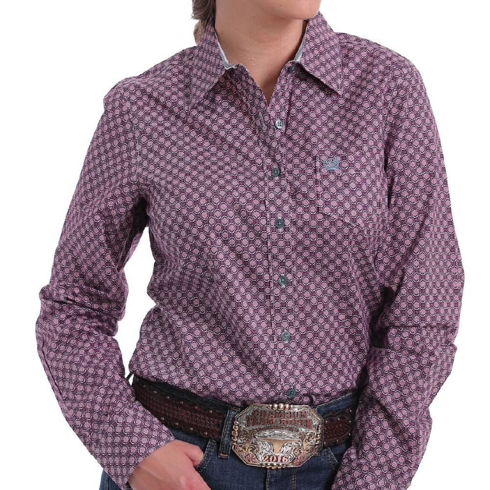 Cinch Geo Print Button Up Shirt WOMEN - Clothing - Tops - Long Sleeved CINCH Teskeys