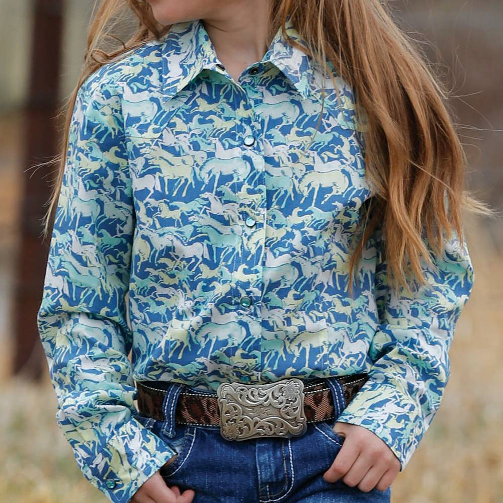 Cinch Western Print Snap Shirt KIDS - Girls - Clothing - Tops - Long Sleeve Tops CINCH Teskeys