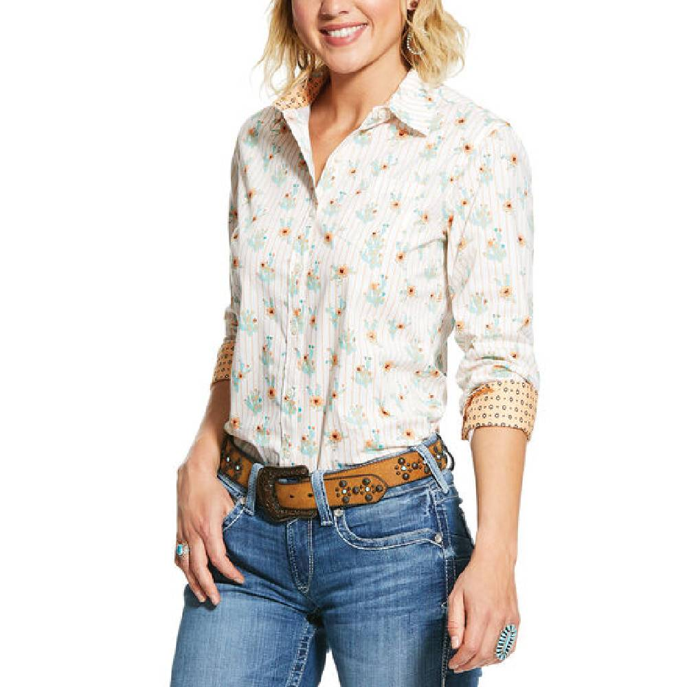 Ariat Kirby Cactus Bloom Button Up Shirt WOMEN - Clothing - Tops - Long Sleeved Ariat Clothing Teskeys