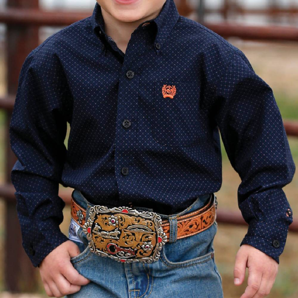 Cinch Geo Print Button Down Shirt KIDS - Boys - Clothing - Shirts - Long Sleeve Shirts CINCH Teskeys