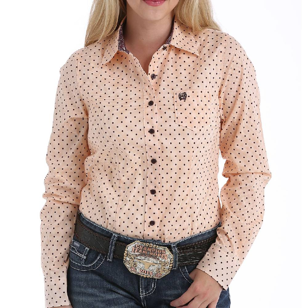 Cinch Dot Print Button Up Shirt WOMEN - Clothing - Tops - Long Sleeved CINCH Teskeys