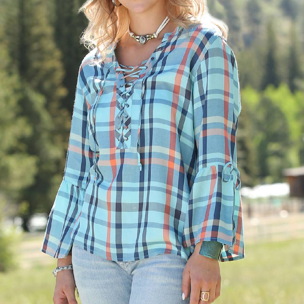 Cinch Plaid 3/4 Sleeve Top WOMEN - Clothing - Tops - Long Sleeved CINCH Teskeys