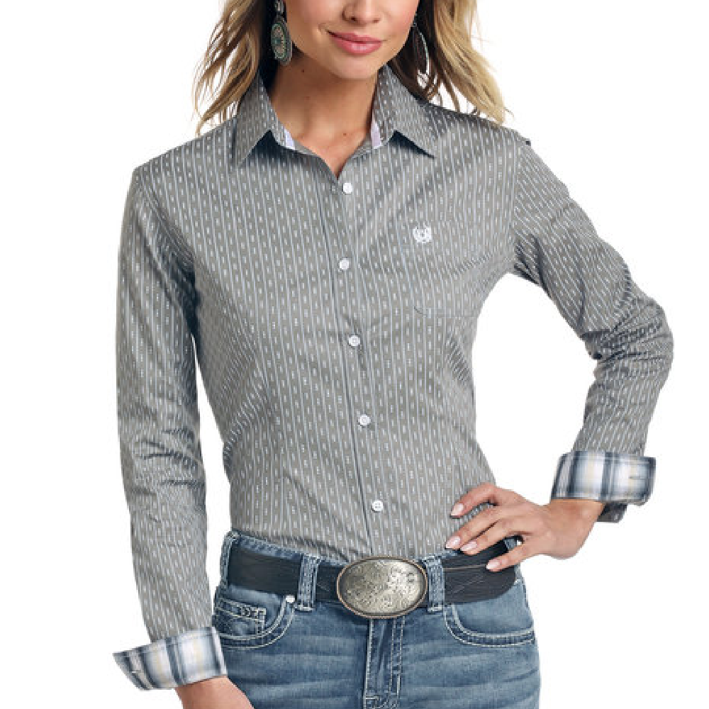Panhandle Slim Grey Stripe Button Down Shirt WOMEN - Clothing - Tops - Long Sleeved Panhandle Teskeys