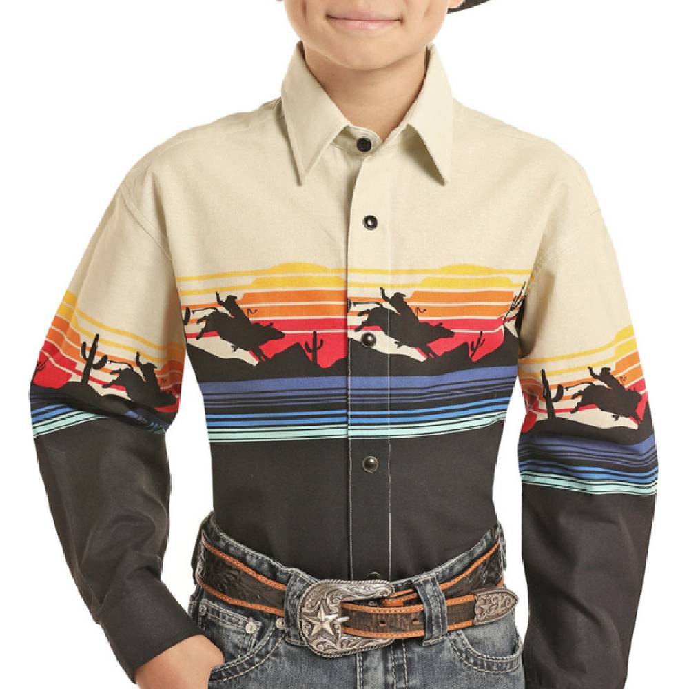 Panhandle Boys Scenic Border Print Snap Shirt KIDS - Boys - Clothing - Shirts - Long Sleeve Shirts Panhandle Teskeys