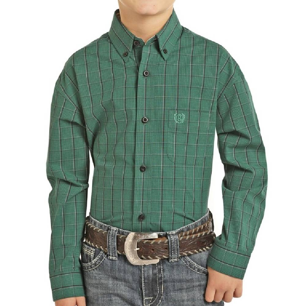 Boys Panhandle Emerald Button Down Shirt KIDS - Boys - Clothing - Shirts - Long Sleeve Shirts Panhandle Teskeys