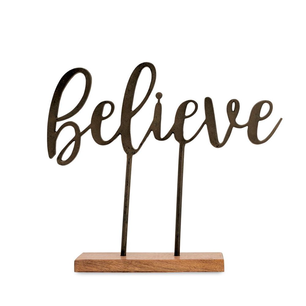 Mud Pie Believe Cast Iron Sentiment HOME & GIFTS - Home Decor - Decorative Accents Mud Pie Teskeys