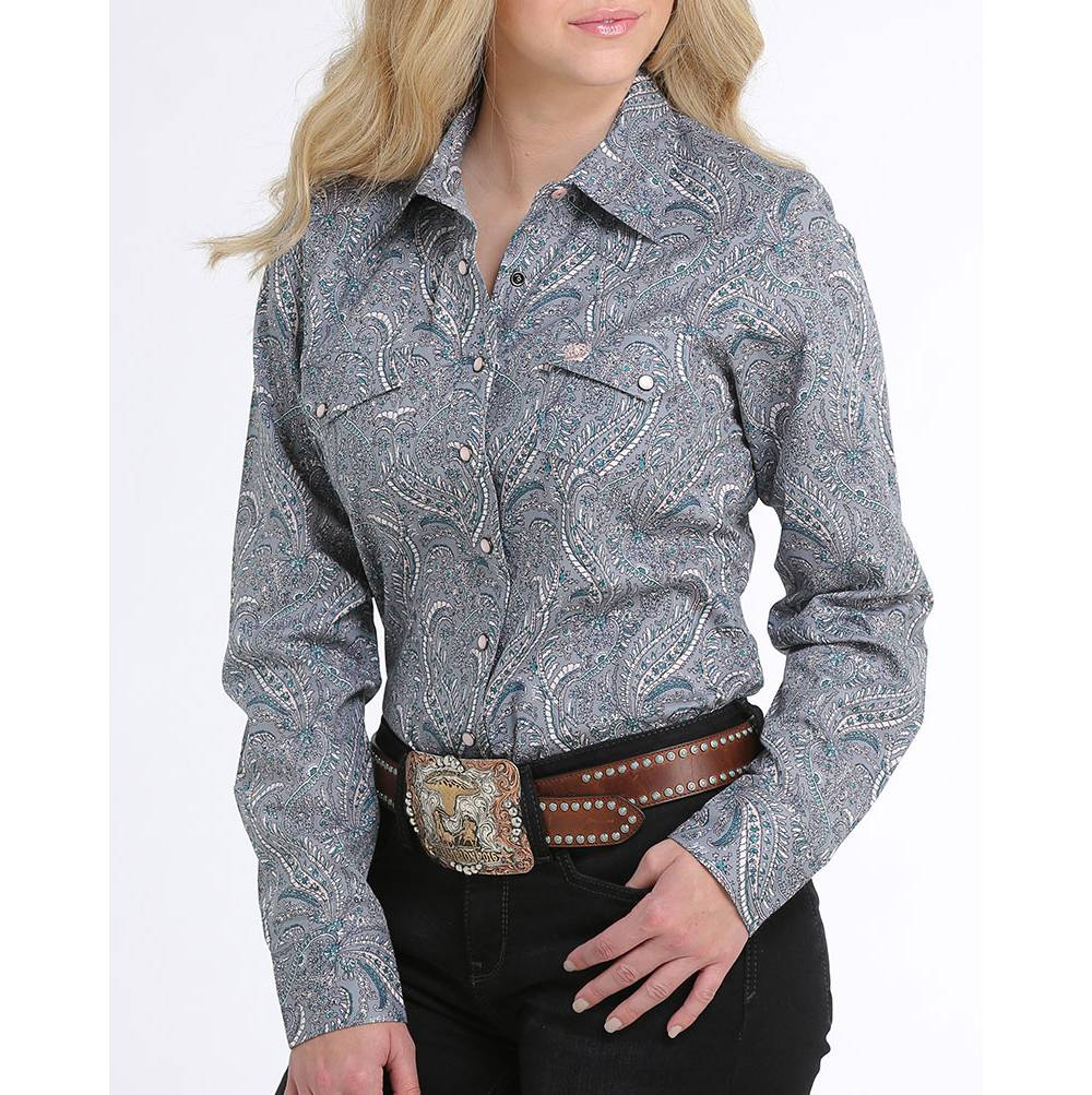 Cinch Paisley Print Snap Up Shirt