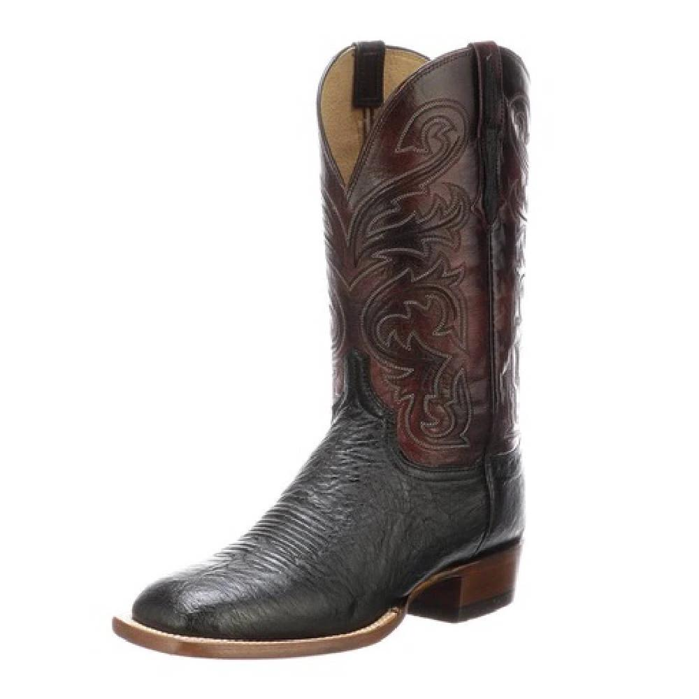 Lucchese Lance Black Smooth Ostrich MEN - Footwear - Exotic Western Boots LUCCHESE BOOT CO. Teskeys