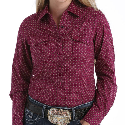 Cinch Geometric Print Snap Up Shirt