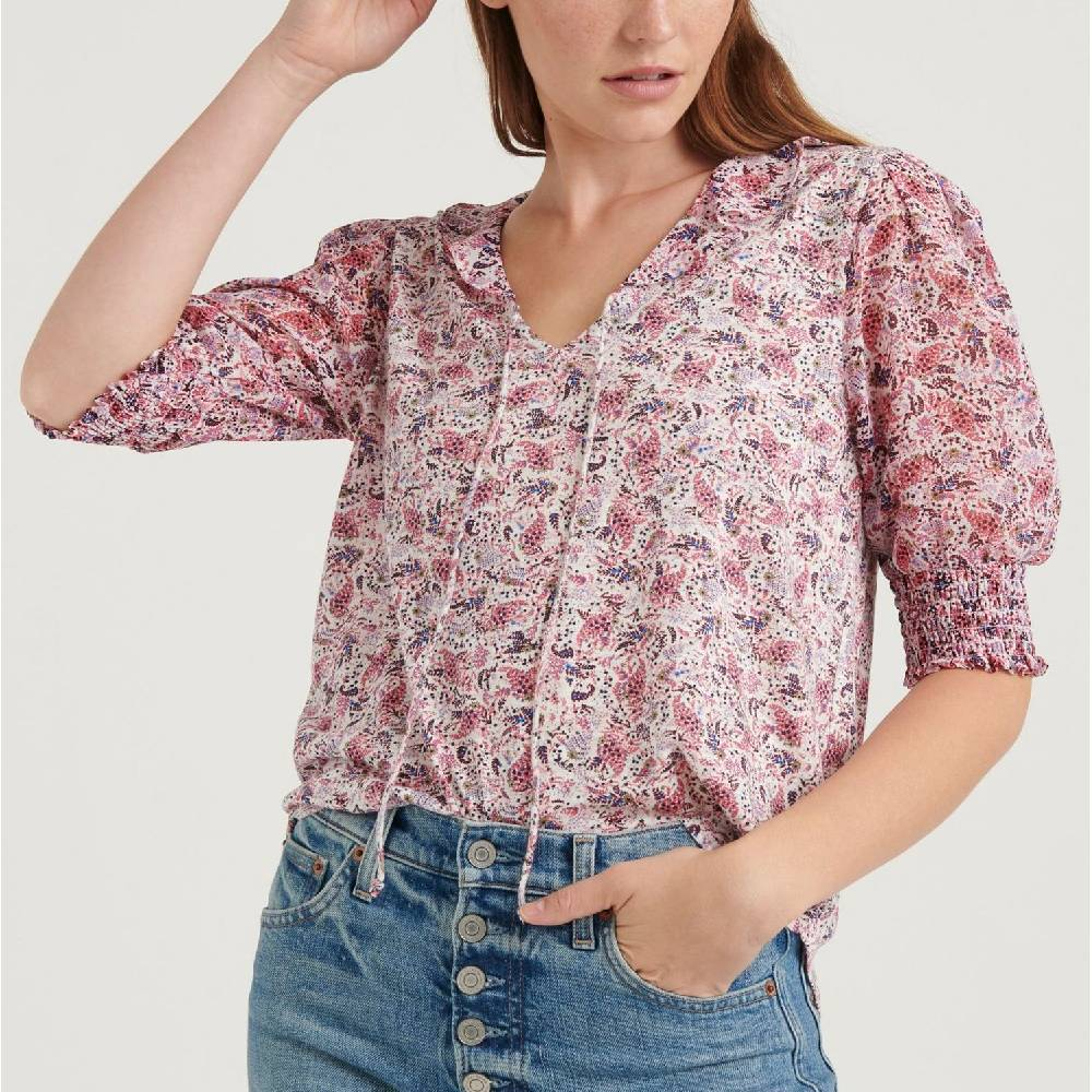 Lucky Brand Mix Media Flutter Top